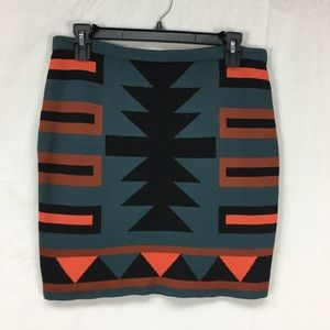 RACHEL Rachel Roy Multi Color Tribal Print Skirt